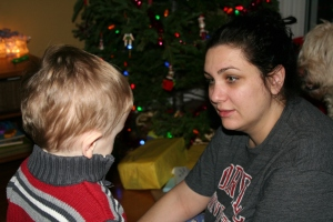 Me trying to explain to Henry about opening presents on Christmas morning.