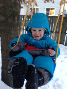 It started off with fun in the swing in a snowsuit