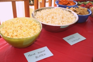 Different kinds of popcorn were served for those of discerning tastes.