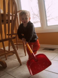 Practicing my shoveling technique. It's all in the wrist.