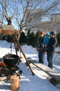 Watching maple syrup being made.