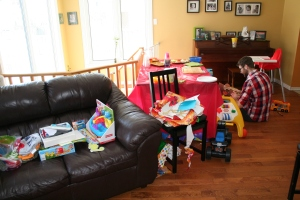 The party aftermath. While Henry slept off his afternoon, we cleaned and cleaned some more.