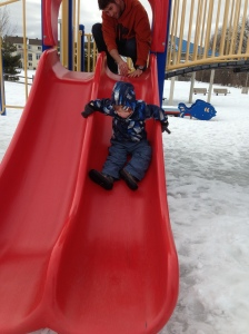From the noises he was making, going down this slide was both exhilarating and terrifying.