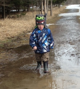 This was the funnest part of the walk for Henry.  A big puddle to splash in.