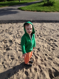 One of Henry's very rare standing still moments at the park.