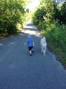 When all else fails, let toddler run off leash with Ginger to burn off all that extra energy.