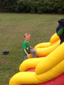 This is the only time I could get Logan's attention he was so caught up in the bouncy castle.