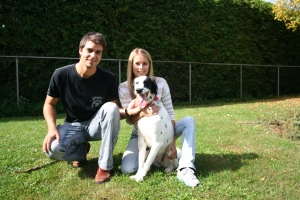 Frank and his fiancee Catherine and their crazy energetic dog Disney