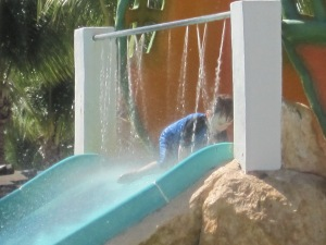 This water slide is much more fun with you go down backwards