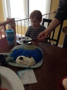 "Devouring his cake. I'm so glad he loved it. It's pretty cute hearing him say ""Can I have some more please?"