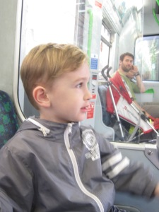 Henry riding the tube like a pro