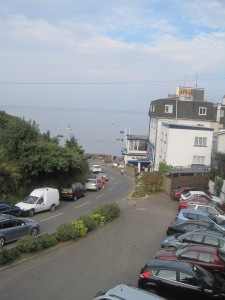 The view from our chalet in Jersey, in Bouley Bay.