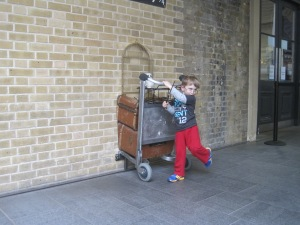 Henry got an early admittance to Hogwarts. Here he is off to school. They grow up so fast