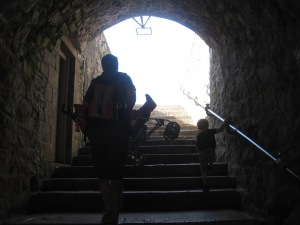 Climbing to the top of the castle. Well Freddy was carried part of the way in his stroller. We abandoned the stroller partway up though and forced him to walk up.
