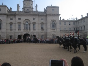 witnessing the changing of the horse guards. At one point, a guard detached himself from the group and basically stormed a cluster of tourists. A policewoman nearby yelled at those tourists letting them know that was a warning shot and that they had got too close. We wondered what would happen after that warning shot if they did it again. They didnt...